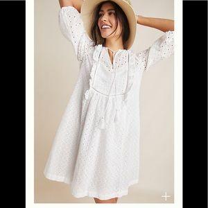 Anthropologie Thames Tunic White Dress Sz 6